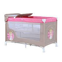 Манеж-кровать  NANNY 2 LAYERS BEIGE&ROSE PRINCESS