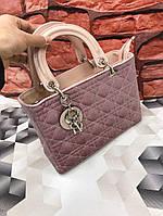 Сумка брендовая копия Christian Dior среднего размера ткань велюр цвет пудра