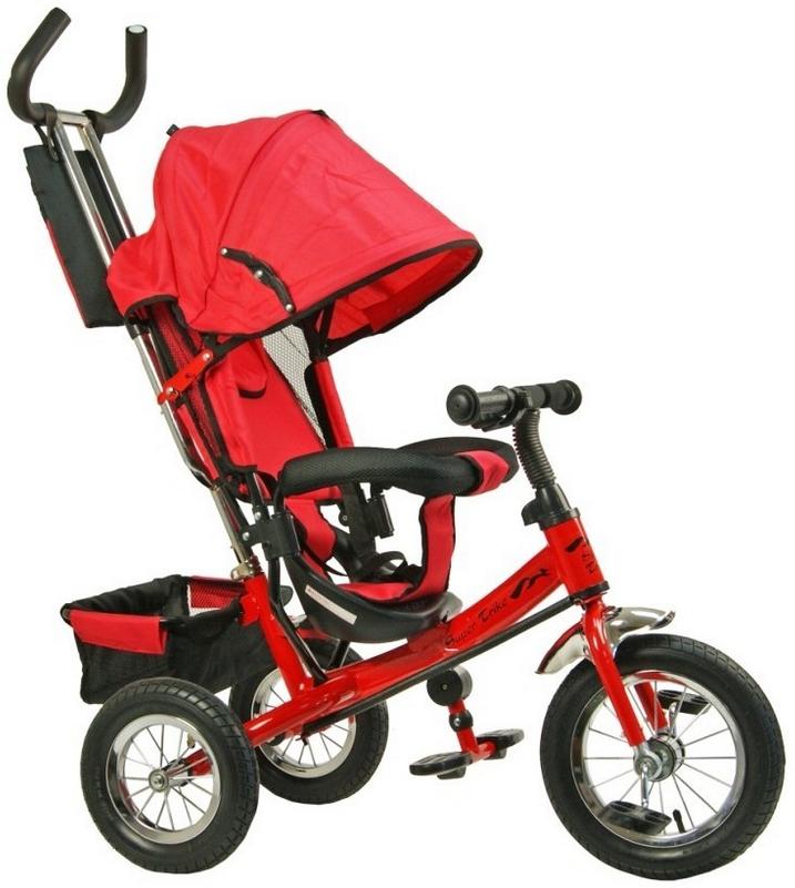 Детский трехколесный велосипед VT1435 красный, надувные колёса,спица**