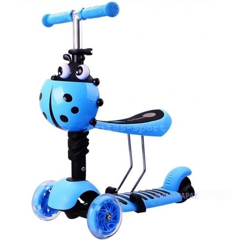 Самокат-беговел Scooter mini 3в1 (голубой) сиденье, корзинка, светящ.