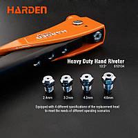 """Профессиональный ручной заклепочник усиленный с аксессуарами 10.5"""" 2,4 - 4,8 мм Harden Tools 610104"""