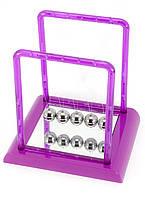 Шары Ньютона фиолетовые 13,5х14х11,5 см- видеообзор, удивительная конструкция - колыбель Ньютона