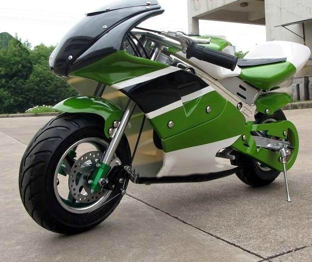 Детский спортивный мотоцикл на  резиновых колесах HL-E 29:500W 36V зел