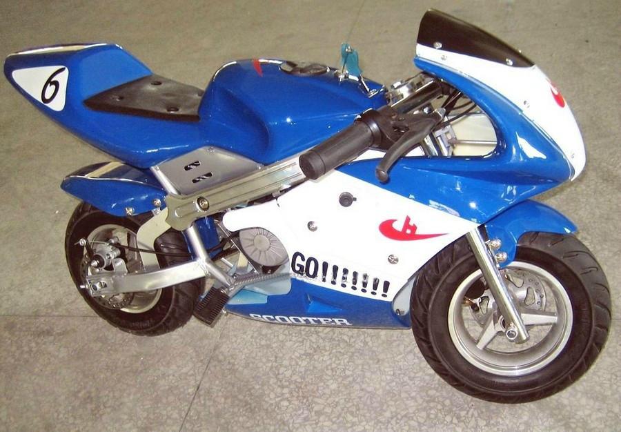Детский спортивный мотоцикл на  резиновых колесах HL-E 29:500W 36V син