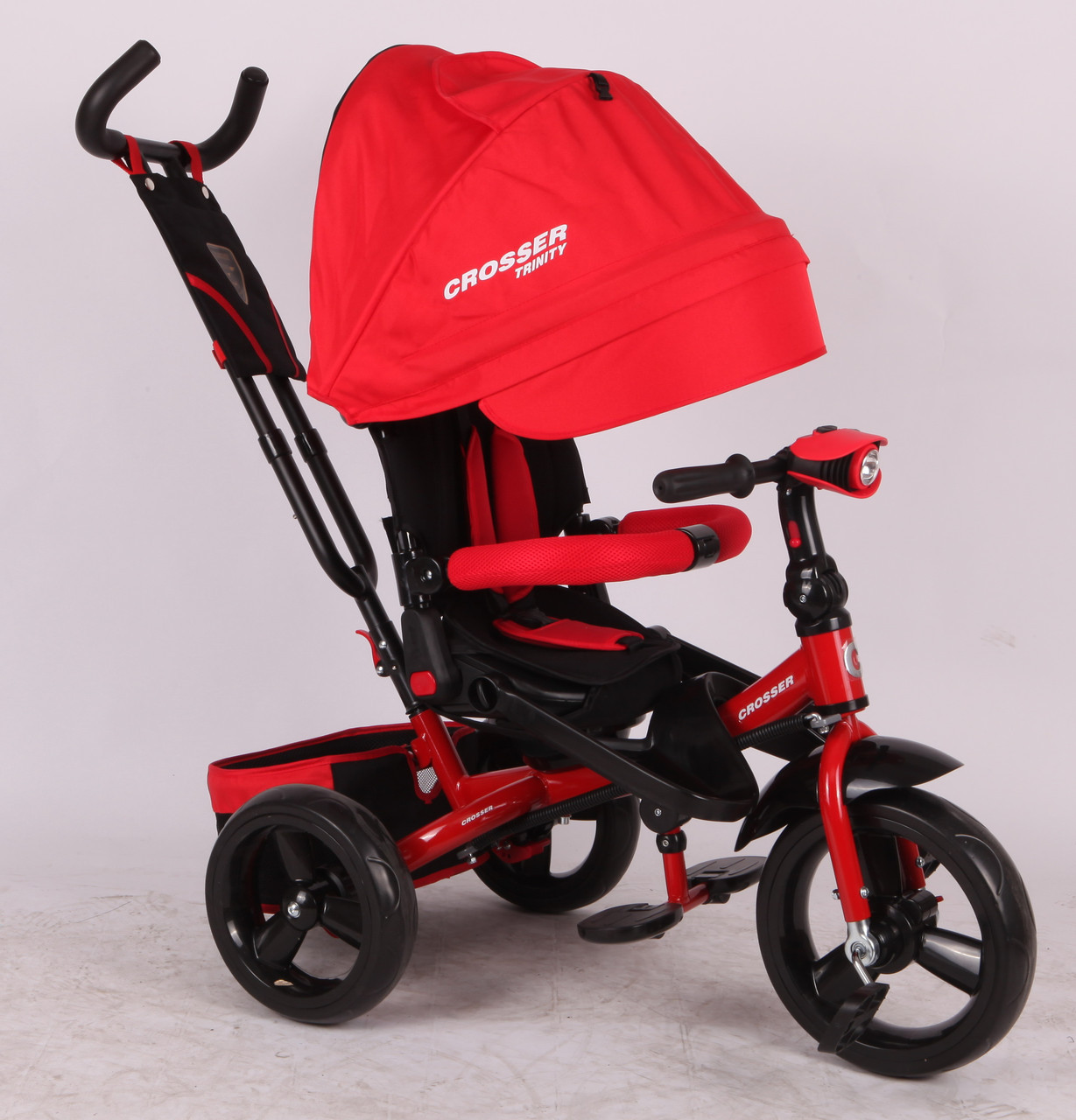 Трехколесный велосипед-коляска Azimut Crosser T-400 EVA, красный ***