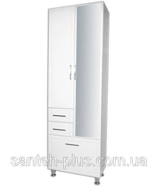 Пенал для ванной комнаты Классик-60 с корзиной и зеркалом 6/4