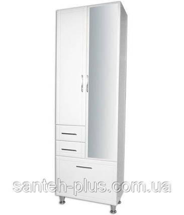 Пенал для ванной комнаты Классик-60 с корзиной и зеркалом 6/4, фото 2