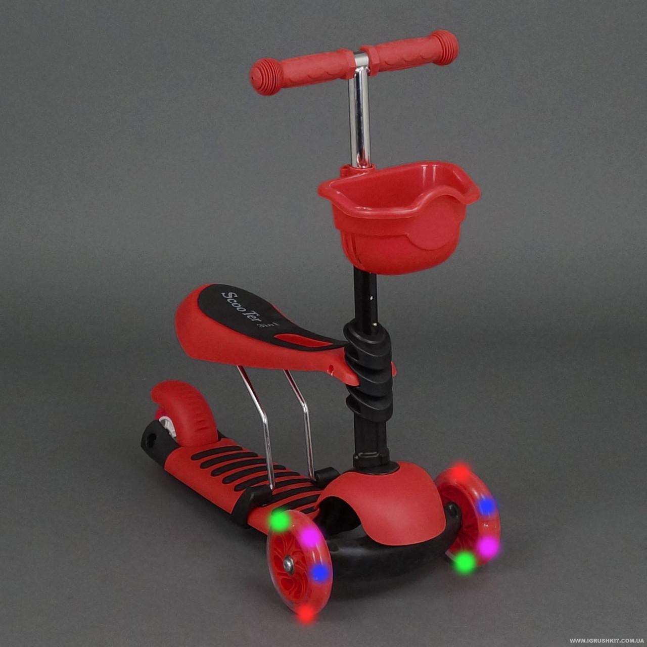 Детский самокат Scooter 3в1 , сиденье, корзинка, Красный (4109 А ) ***