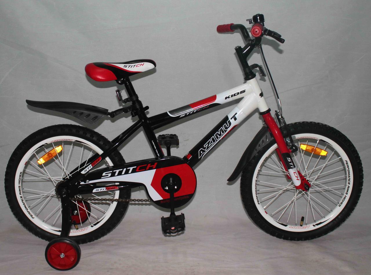 Детский двухколесный велосипед Azimut Stitch(18 дюймов) красный***