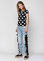 Голубые джинсы с черным ажуром  РМ7107