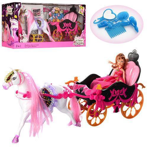 Карета  689Y с лошадью и куклой + с  аксессуарами***