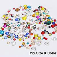 Стразы кристалл стекло МИКС размеров и цветов , в упаковке 660-730шт. ОТЛИЧНОЕ КАЧЕСТВО!