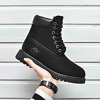 Зимние женские ботинки  Timberland (черные), ТОП-реплика