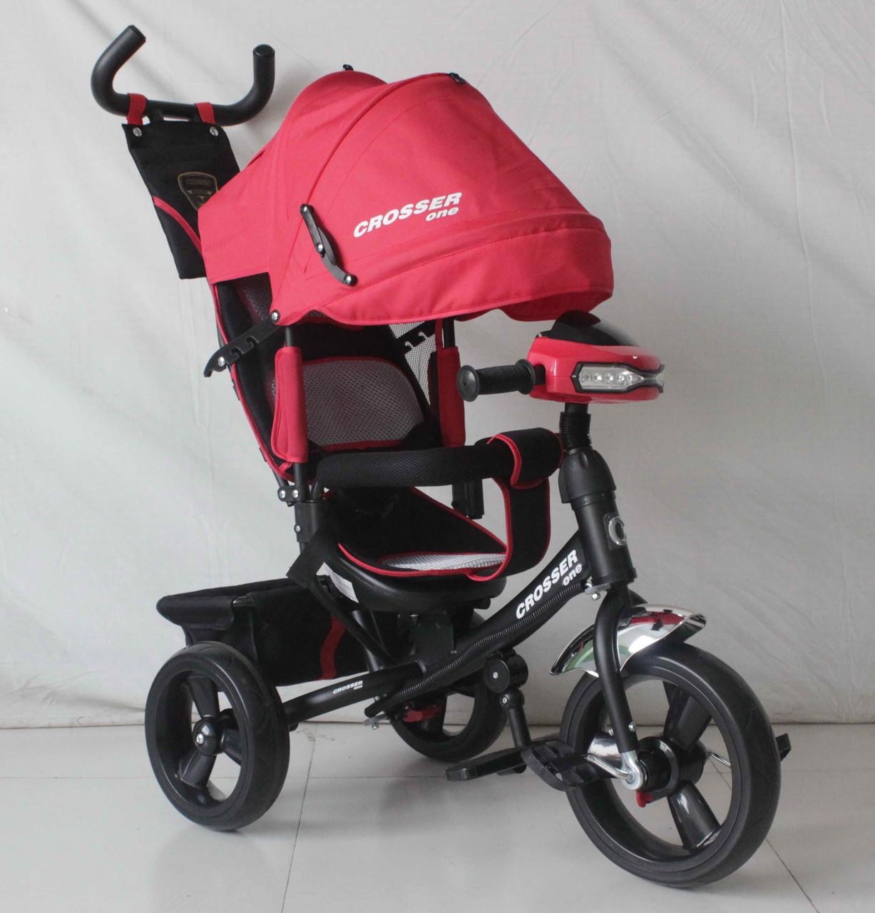 Трехколесный велосипед Crosser One T1 фара (EVA колеса),красный***