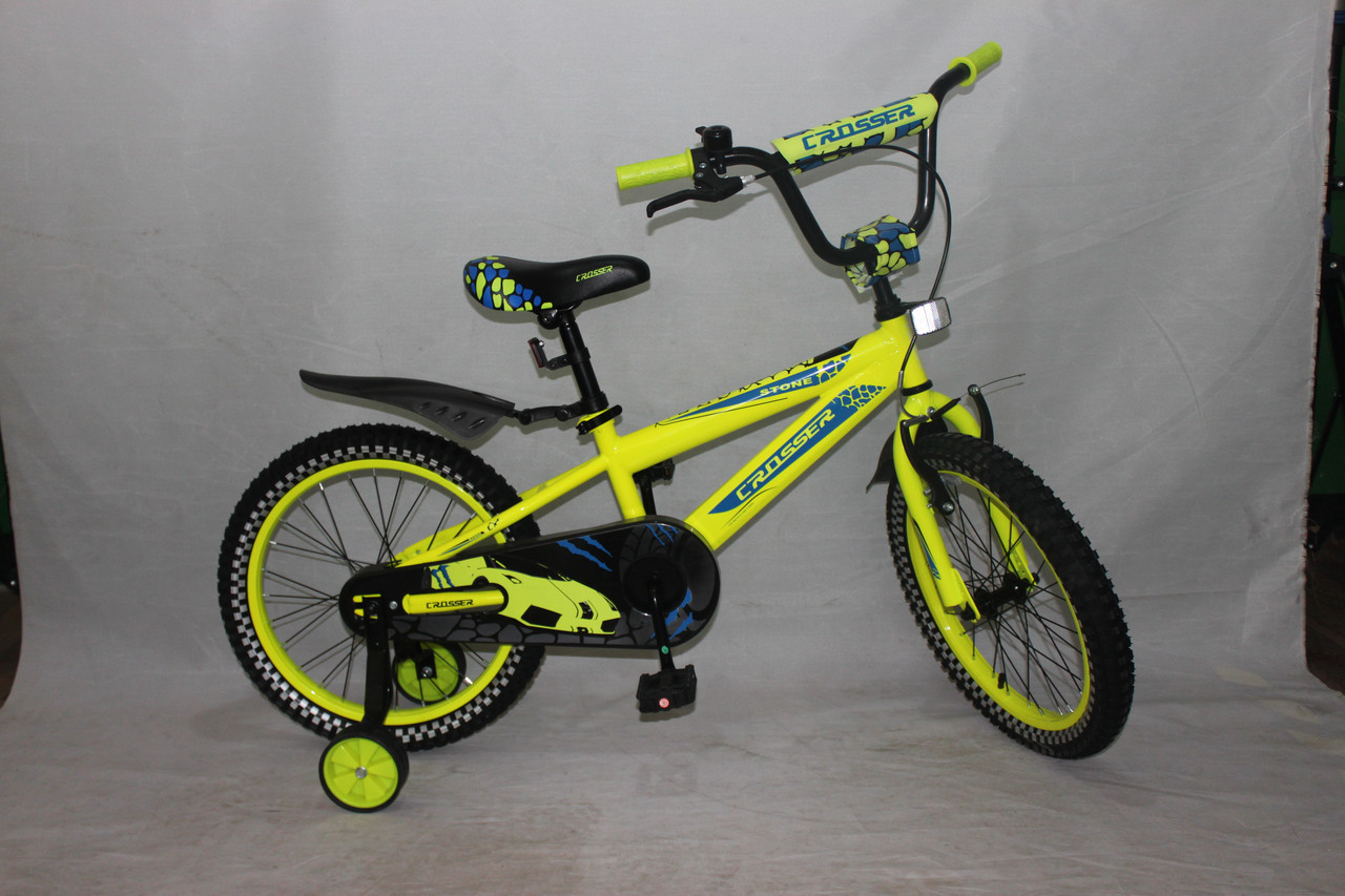 Велосипед детский двухколёсный 16 дюймов Azimut STONE CROSSER-5 желтый