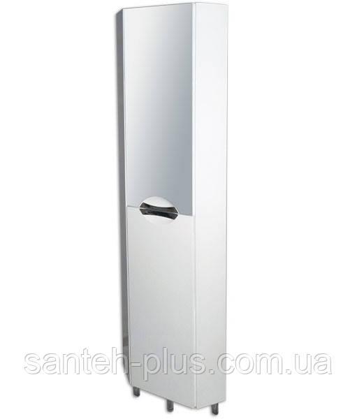 Пенал для ванной комнаты угловой с зеркалом Грация