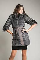 Полушубок-куртка из нутрии+чернобурки 85 см