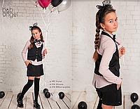 Школьная жилетка для девочки (черная) р-ры 128,134,140,152