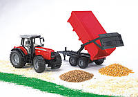 Игрушка - трактор Massey Ferguson 7480 c прицепом, М1:16