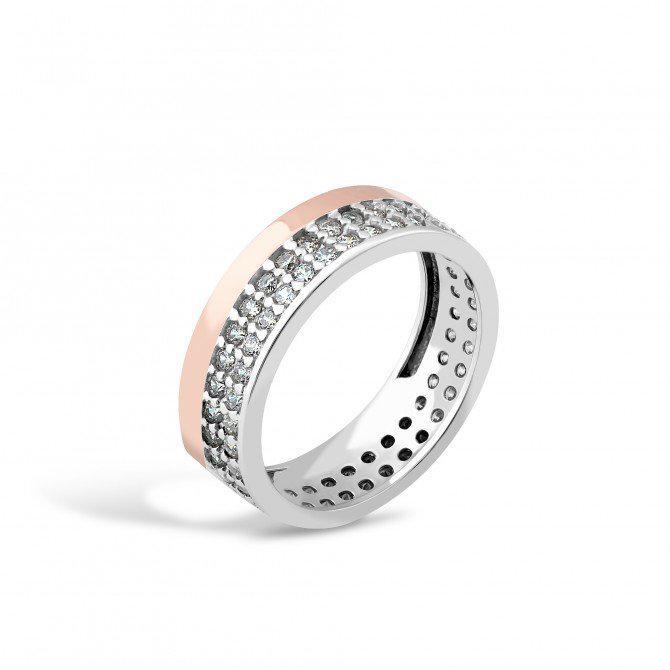Кольцо в коробочке - серебро с золотой вставкой
