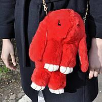Меховой Рюкзак Кролик  Красный