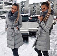 Женская модная куртка с меховым воротником и пропиткой антиснег, фото 1