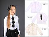Школьная атласная блузка (белая с черными цветочками)  MONE р-р 128, фото 2