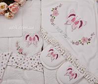 """Комплект для купания малыша """"Бабочка"""", цвет молочный с розовым"""