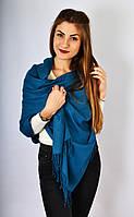 Большой Шарф палантин Стейси синий с бахромой