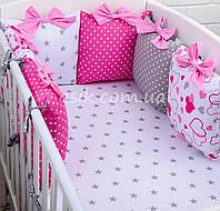 """Охранка и простынь """"Сердечки с бантиками"""", цвет розовый."""