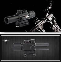 Прицел оптический Range Finder 4x25 E с ЛЦУ, прицел с лазерным целеказателем, универсальное крепление 11/21мм, фото 1