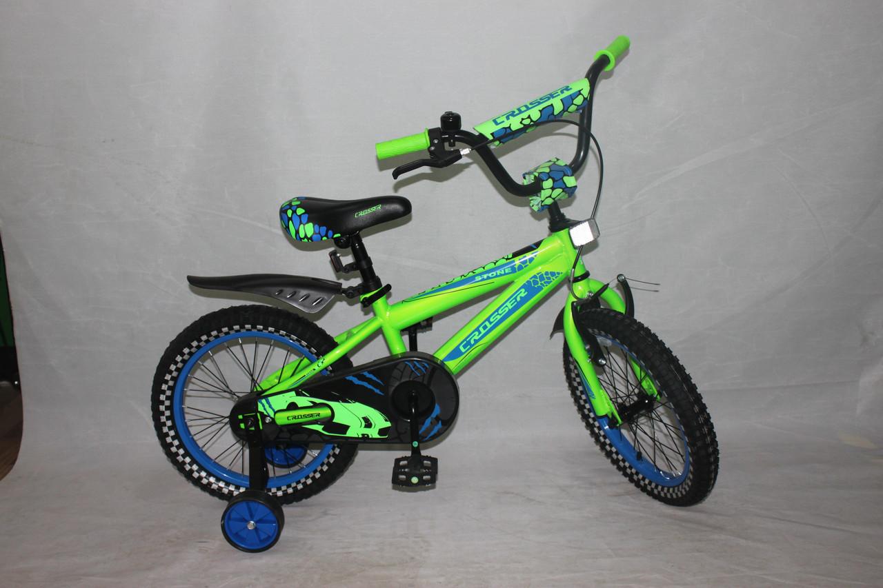 Велосипед детский двухколёсный 14 дюймов Azimut STONE CROSSER-5 салато