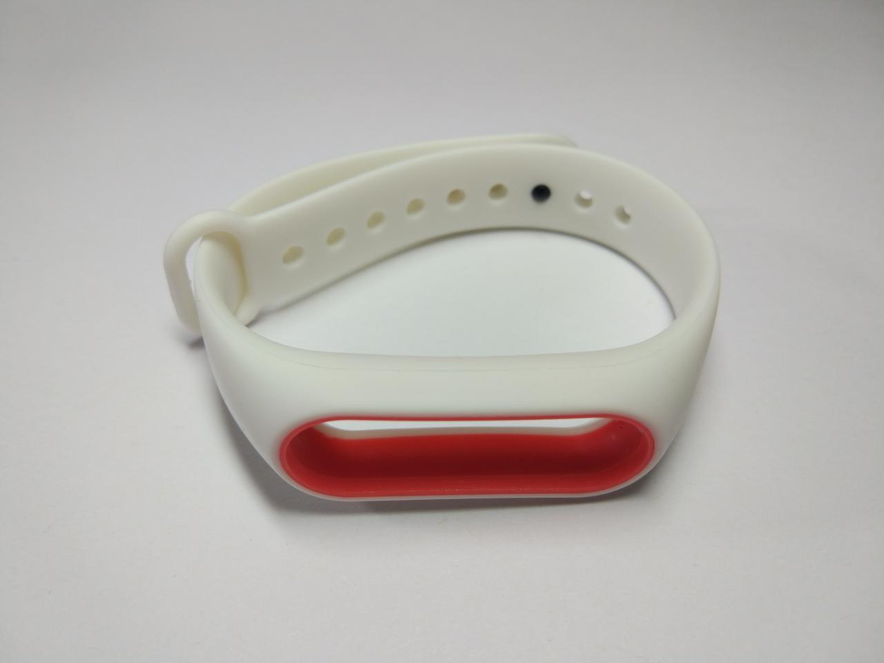 Ремешок Xiaomi Mi Band 2 силиконовый браслет Белый / Красный [1091]