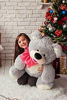 Плюшевый медведь Бублик серый с белым