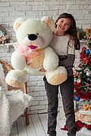 Плюшевый медведь Бублик белый с персиковым