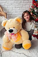 Плюшевый медведь Бублик персиковый с желтым