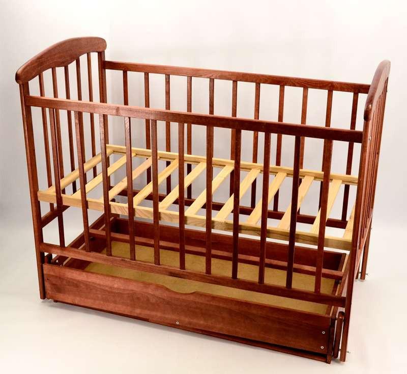 Гр -Кроватка деревянная маятник+шухляда