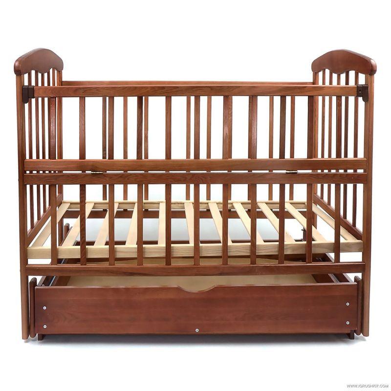 Гр -Кроватка деревянная маятник+шухляда - откидной бортик