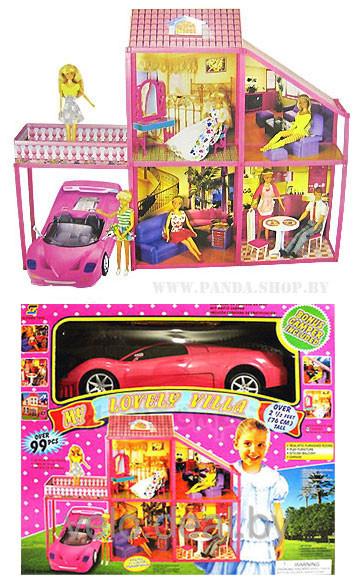 Кукольный домик 6981 с мебелью и машиной