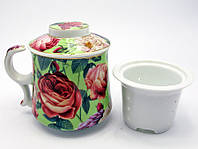 """Чашка заварочная с ситом (300мл.)(BN3198-3) """"Розы"""" (h-9cм, d-8см)"""