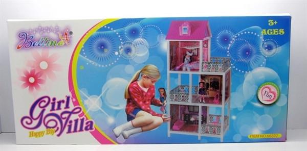 Кукольный домик три этажа, три балкона + две куклы 66892 ***