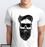 Футболки мужские, череп с бородой