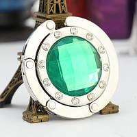 Крючок держатель для женской сумки Кристалл Зеленый