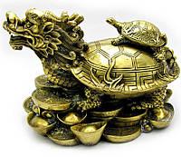 """Статуэтка """"Черепаха дракон на монетах"""" бронза (Д36*Ш23,5*В24/см)"""