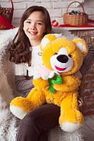 Игрушка для ребенка Медведь с ромашкой, горчичный