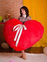 Большое Мягкое Плюшевое Сердце, красное - Настоящий подарок для Любимой!