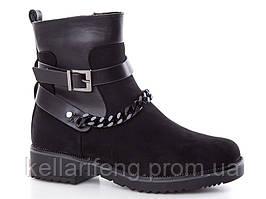 Демисезонные женские ботинки оптом. B1-1 Black-1 (6пар,36-41)