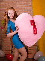 Классный подарок для женщины - Мягкая большая подушка в форме Сердца, розовое