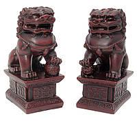 Собаки Фу пара каменная крошка коричневые (10,5х6,5х4,5 см)