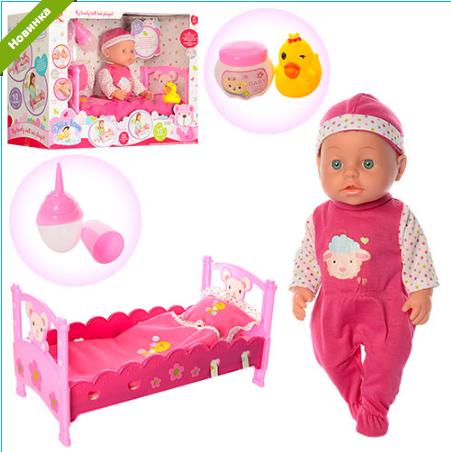 Кукла-пупс с кроваткой 6898***